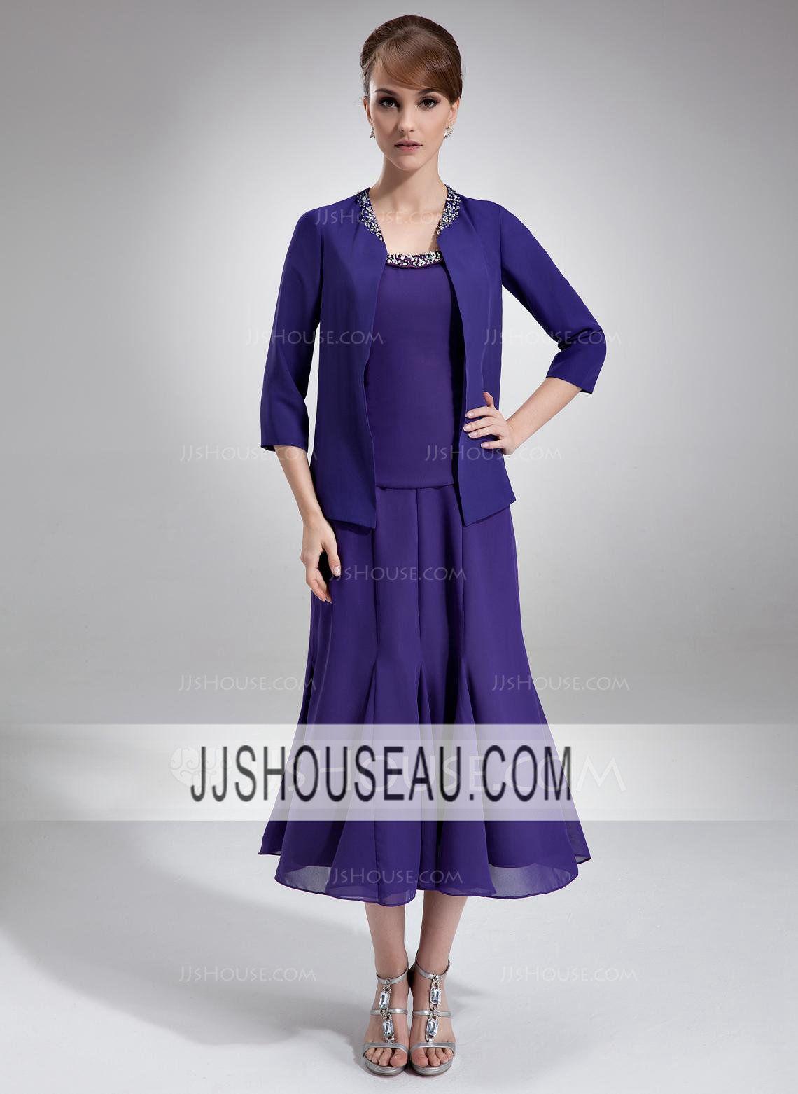 Sleeveless Ruffle  Beading  Sequins Regular Straps Tea-Length Mother of the Bride Dress