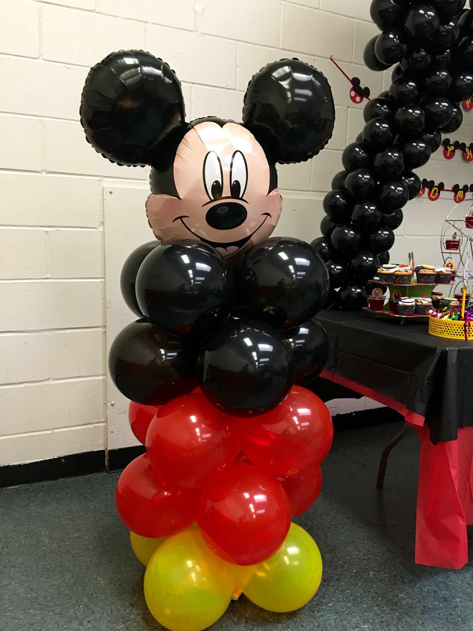 Diy Mickey Mouse Balloon Column Mickey Mouse Decorations Mickey Mouse Balloons Mickey Mouse Birthday Decorations