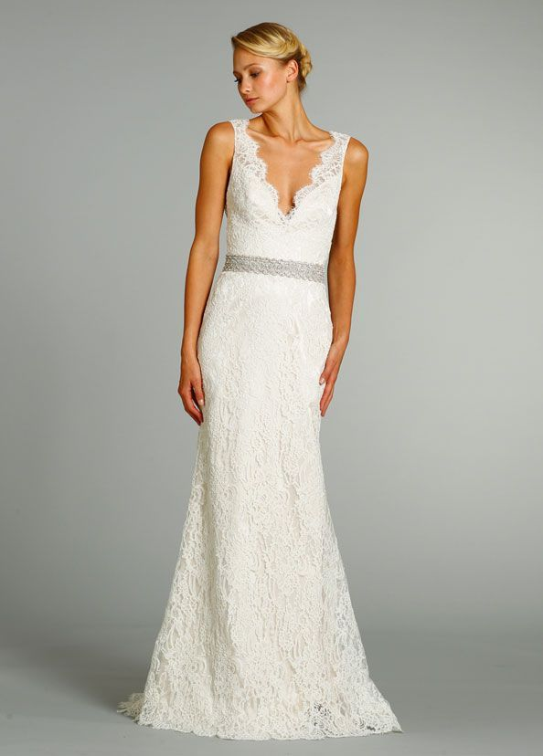 LOVE!!!! w/ a different belt Bridal Gowns: Jim Hjelm Sheath Wedding ...