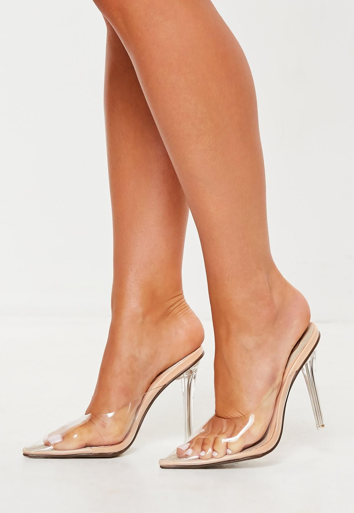 fb5305e14a Nude Clear Toe Closed Mules in 2019 | STYLE | Shoes, Heels, Clear heels