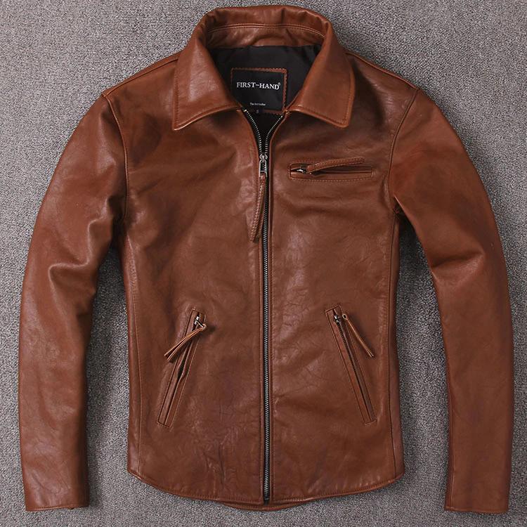 Free Shipping 2020 Wax Feeling Uncoated Cowhide Jacket Classic Braker Style Genuine Leather Coat Vinta In 2020 Leather Jacket Men Mens Streetwear Leather Bomber Jacket