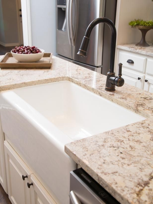 Kitchen, Detail, AFTER A Farm Sink Is Installed In The Kitchen Island.  Variegated Granite Countertops Are Used For The Cabinets, Island And Bar  Top.