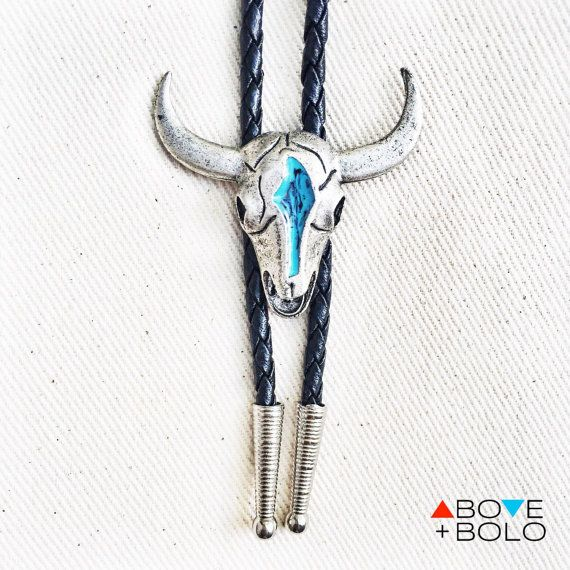 0f75af98cb2a Silver and Turquoise Cow Skull BOLO TIE 'El by AboveandBolo | Wewish ...