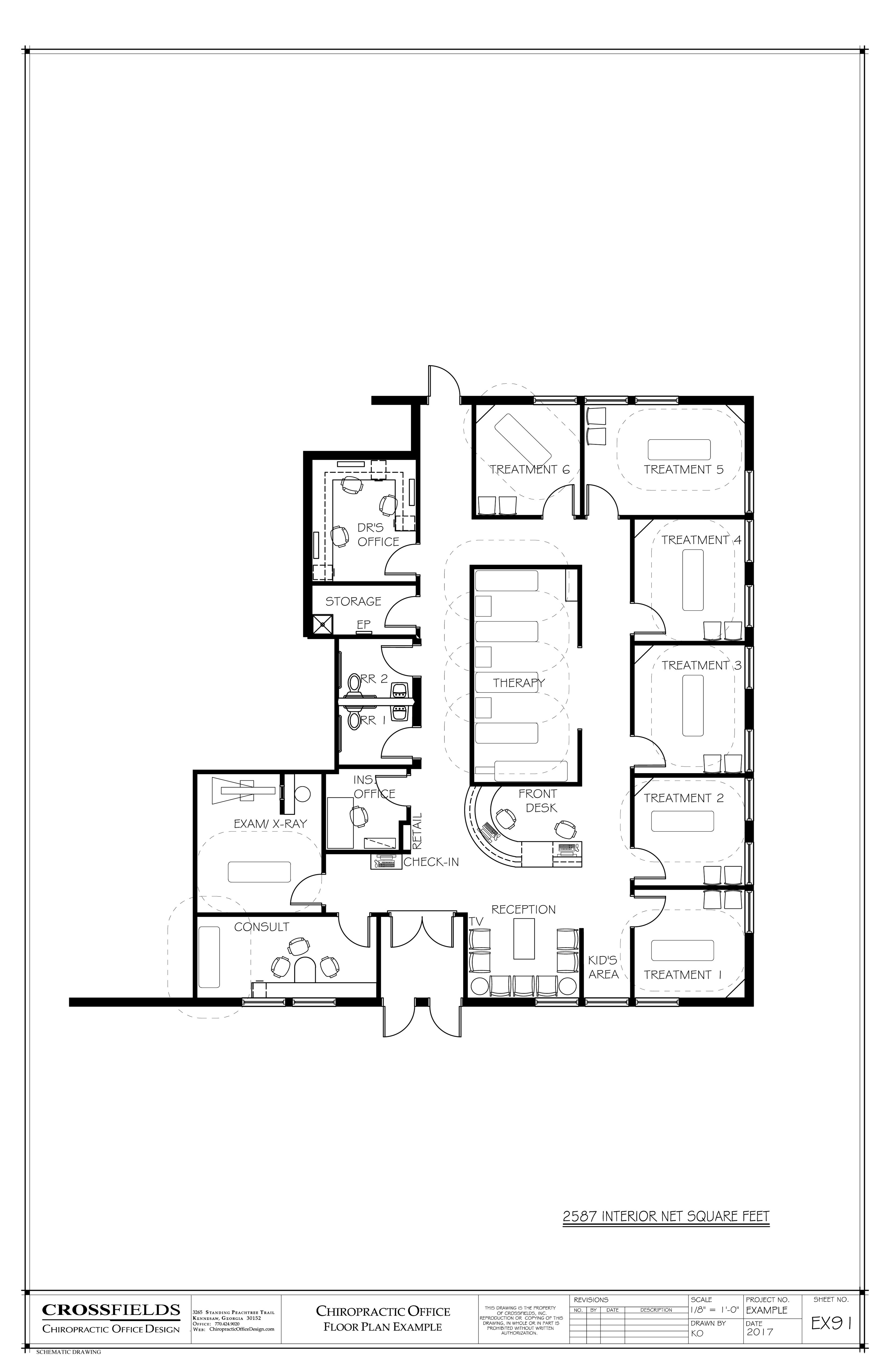Example of Chiropractic Floor Plan, 6 Treatment Rooms