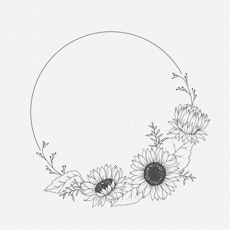 Sunflower Floral Wreath SVG - Laurel Wreath SVG -