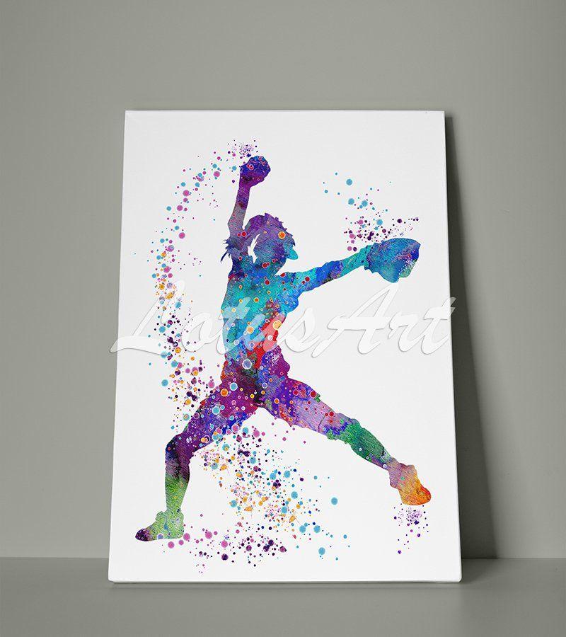Girl Baseball Softball Pitcher Canvas Baseball Wall Art Etsy Baseball Wall Art Etsy Wall Art Stretched Canvas Wall Art