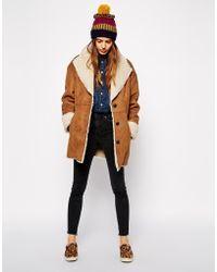 1a8e4cf8626 ASOS - Faux Fur Coat In Vintage Shearling - Lyst