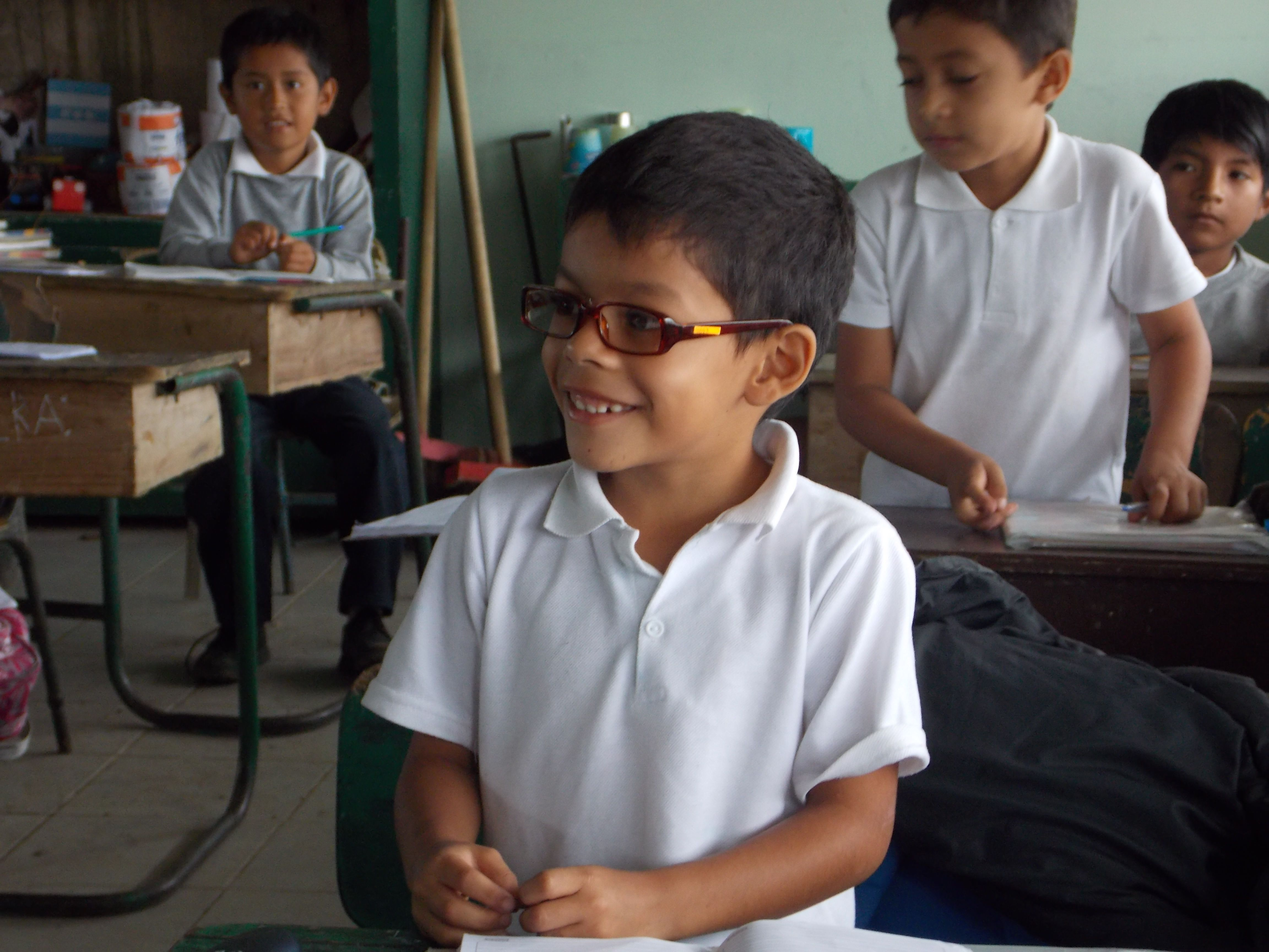 Giving spectacles to school children