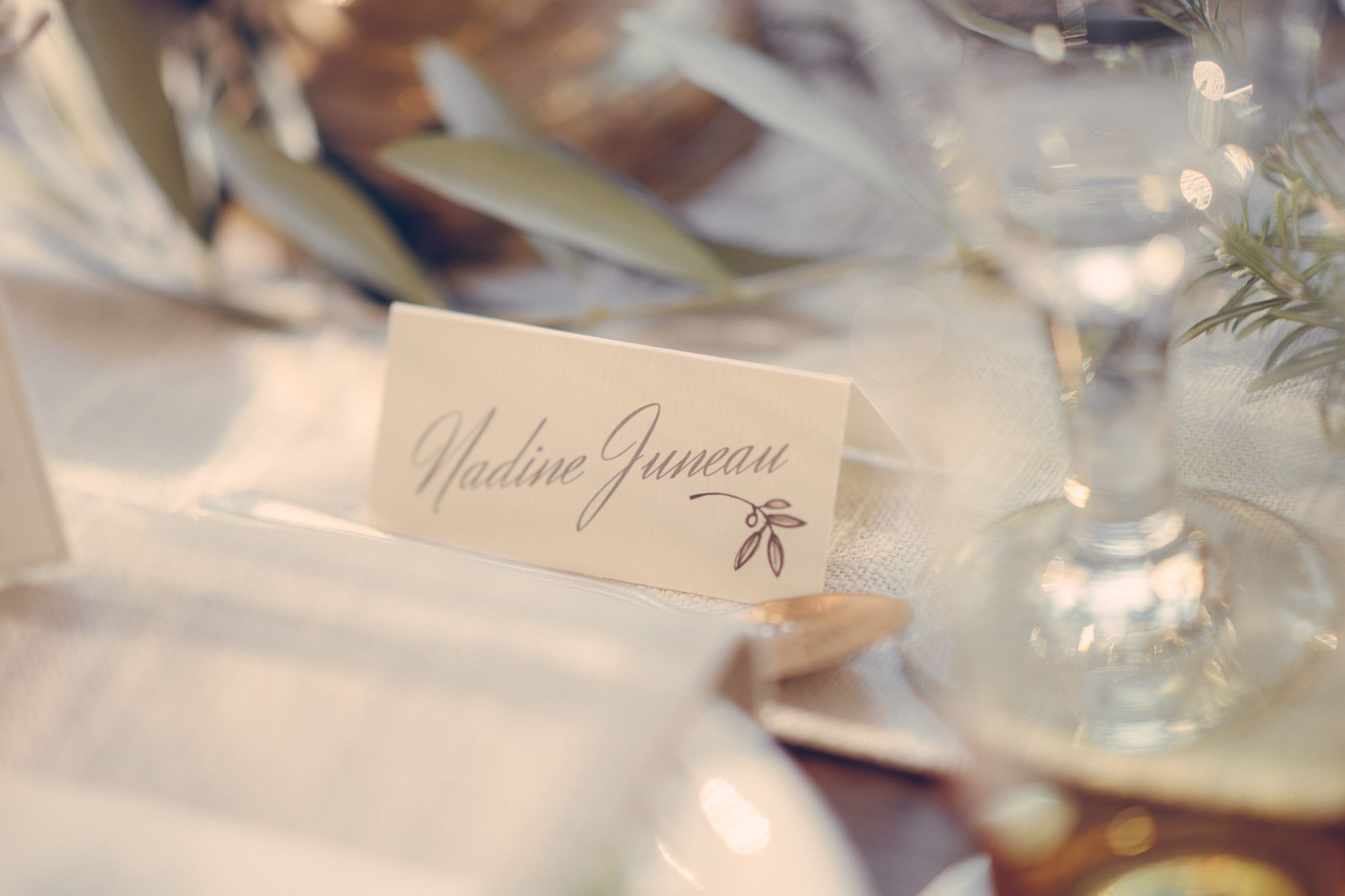 Calligraphy Wedding Place Cards For A Rustic Mediterranean Inspired Table Main Colors Were Olive