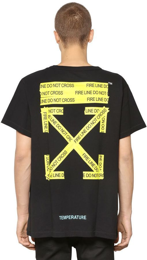 cf495e263d53 Off-White Oversize Fire Line Tape Jersey T-Shirt
