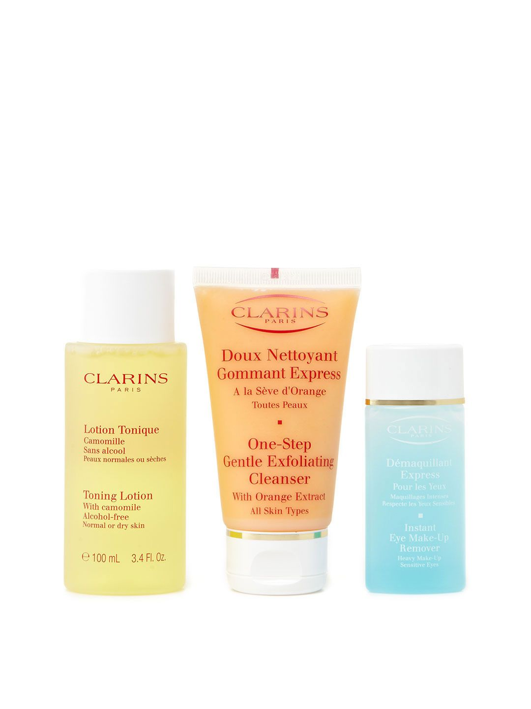 Clarins Cleansing Trip for Normal/Dry Skin :: $19, Retail $28 | Gilt.com :: Includes deluxe travel sizes of Toning Lotion, One Step Gentle Exfoliating Cleanser & travel size of Instant Eye Makeup Remover. | #clarins