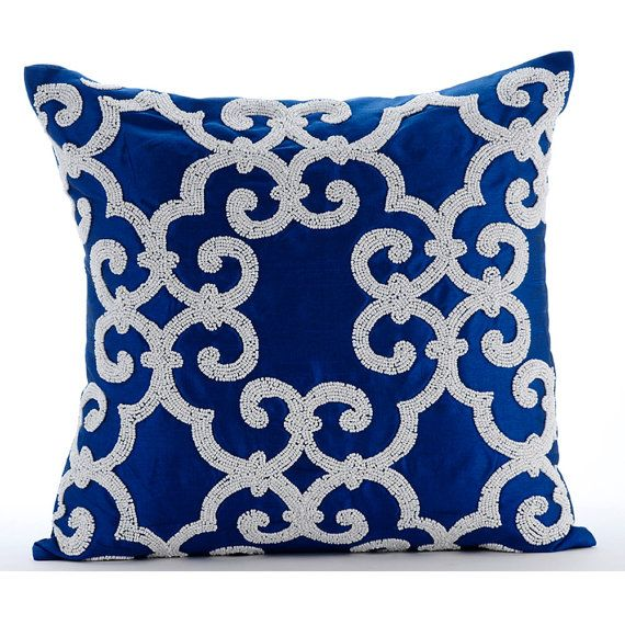 Royal Blue And White Throw Pillows : Decorative Throw Pillow Covers Accent Pillow Couch Toss Sofa Pillow 20x20 Royal Blue Silk Pillow ...