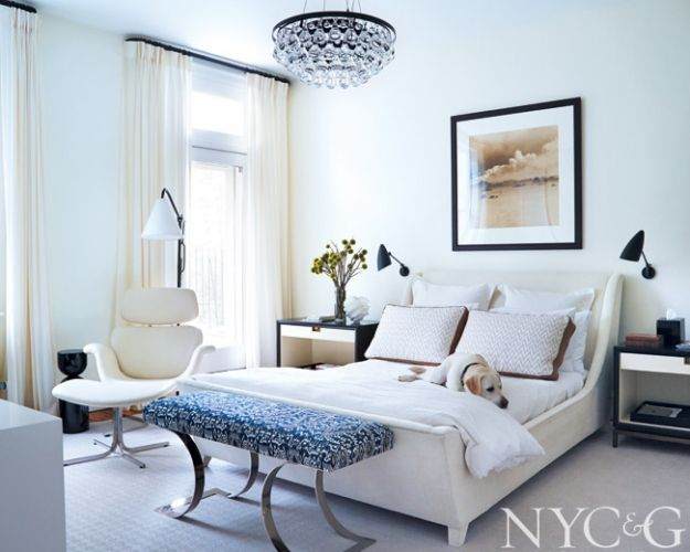 Gallery designer robert couturier decorates a brooklyn brownstone urban oasis brooklyn brownstone designed by robert couturier tulip lounge chair ochre arctic pear chandelier and sleigh bed aloadofball Images