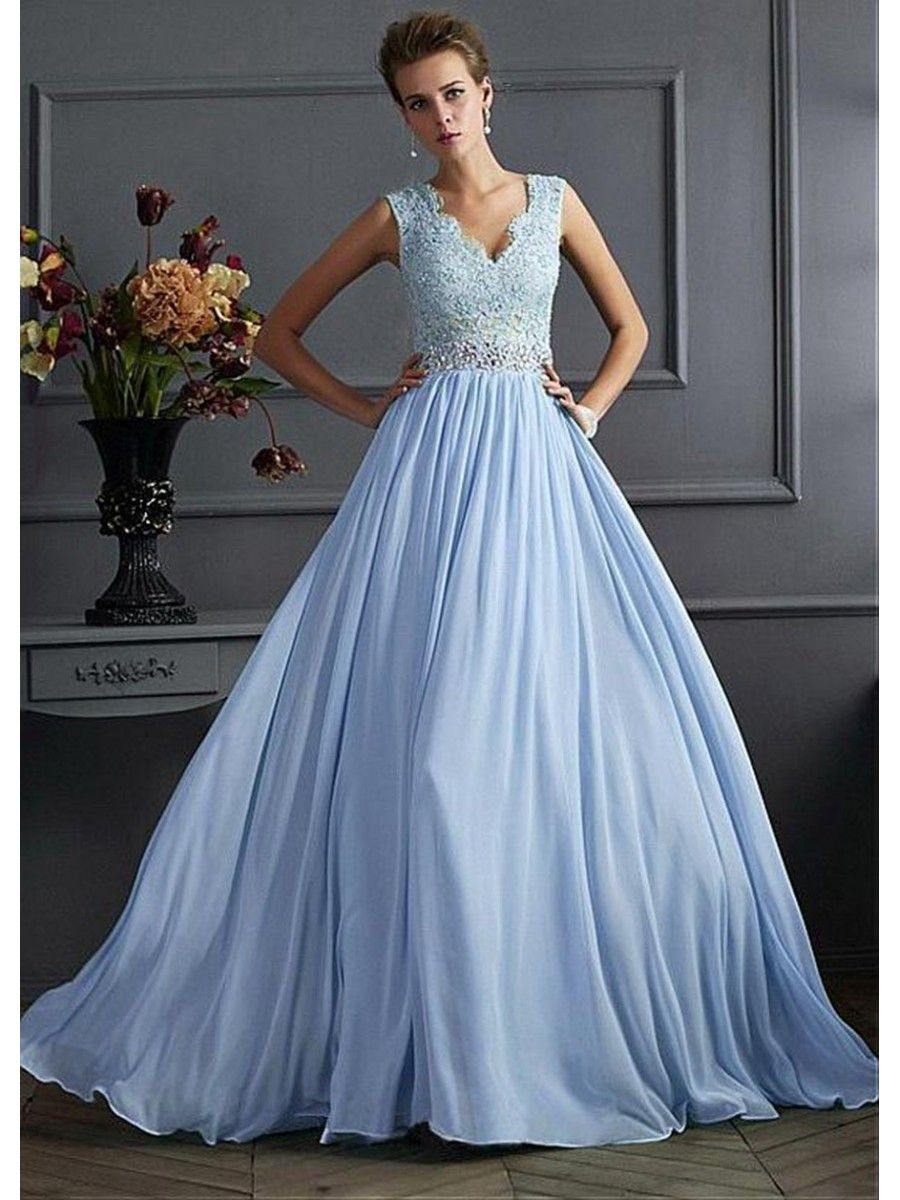 A-Line V-Neck Beaded Lace Chiffon Prom Formal Evening Dresses ...
