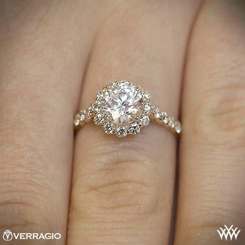 20k Rose Gold Verragio INS 7033 Round Halo Diamond Engagement Ring