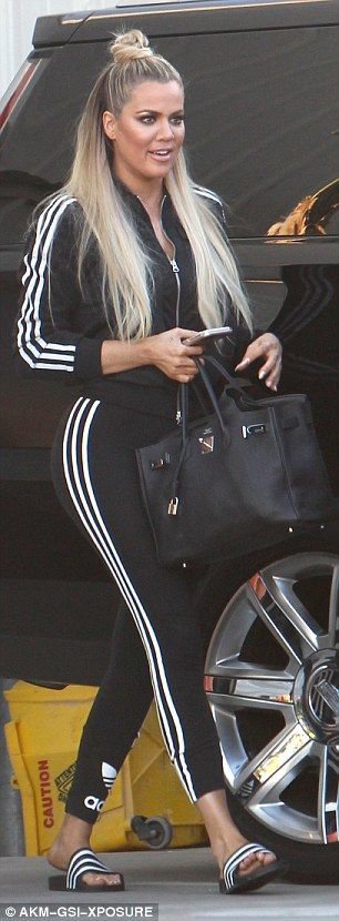 Khloe Kardashian wears head-to-toe Adidas workout gear