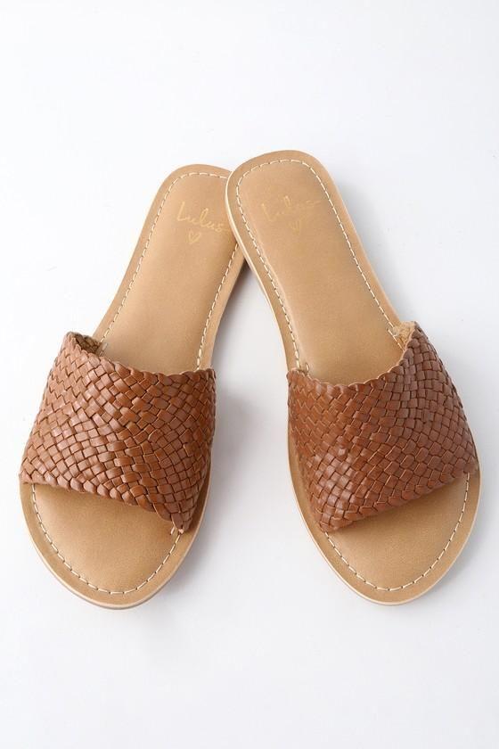Lulus Maddie Woven Leather Slide Sandal Heels - Lulus WwtnluOImh