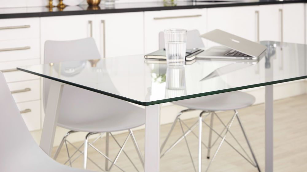 Glass And Metal 6 Seater Dining Table Glass Dining Table 6