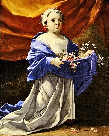 Michel Dorigny (1617-1665) – Portrait de fillette présentant des fleurs, v. 1650 – Saint-Quentin, Musée Antoine Lécuyer