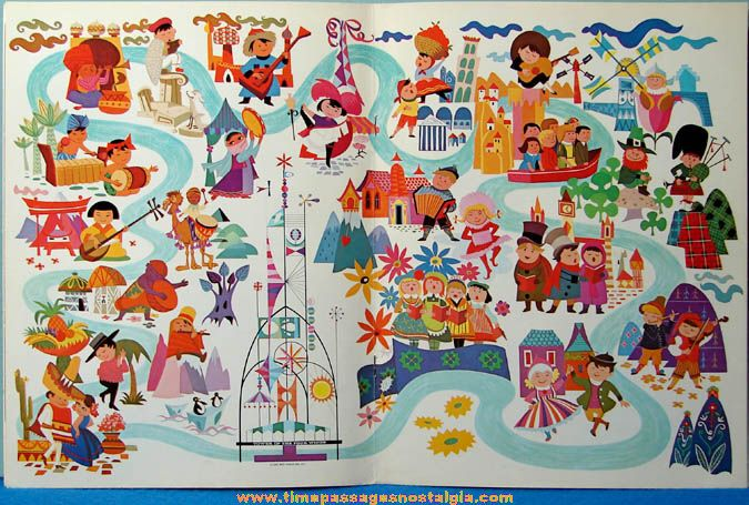 Cute Vintage Illustrated Map Of The New York Worlds - Small world map poster