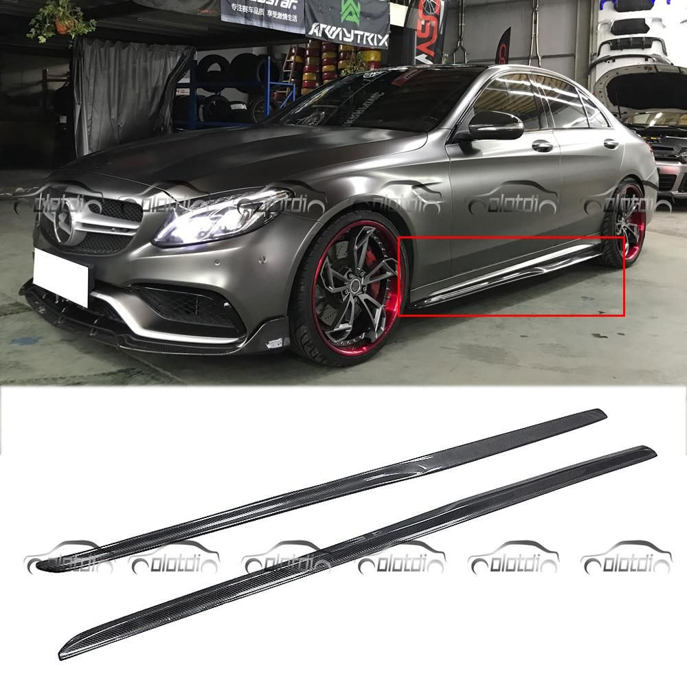 W205 Psm Style Car Styling Carbon Fiber Side Skirts Extension Lip Body Kits For Mercedes Benz W205 C200 C250 C63 C180 Mercedes Car Mercedes C180 Mercedes Benz
