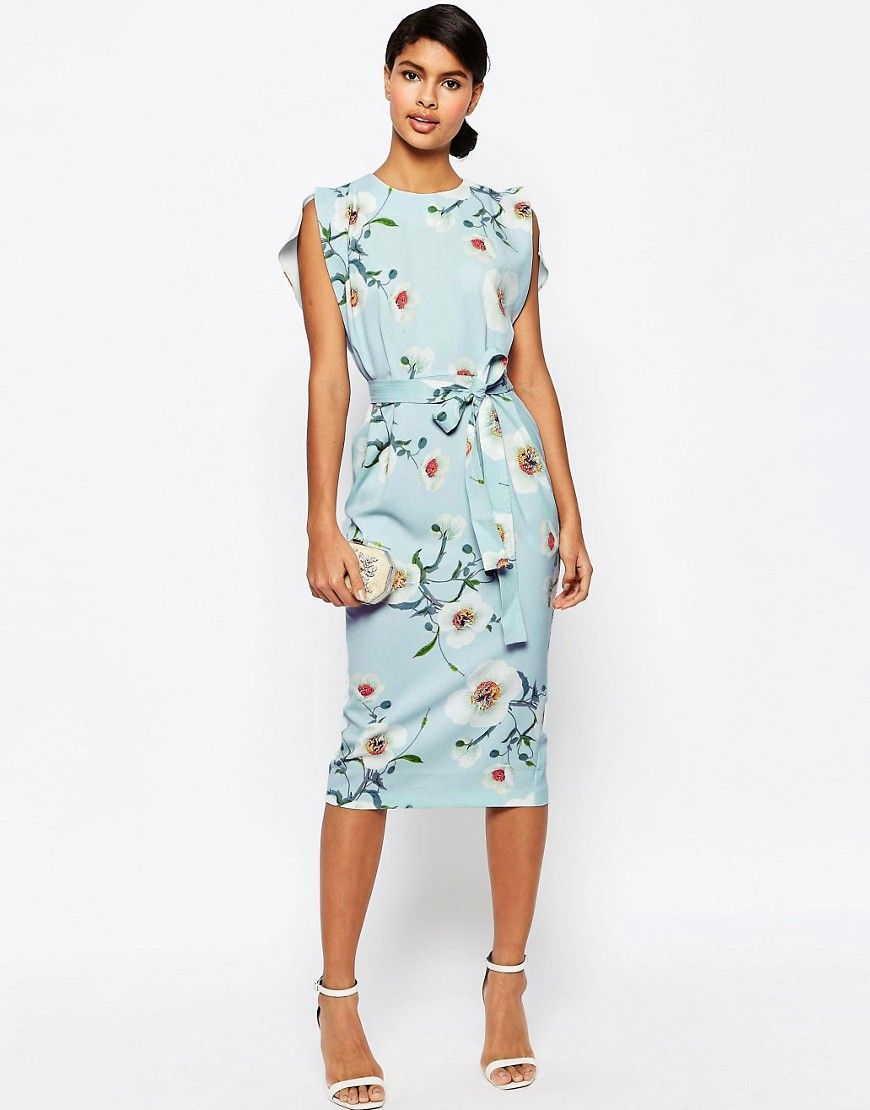 Asos wedding guest dresses with sleeves  Image  of ASOS Belted Midi Dress with Split Cap Sleeve in Occasion