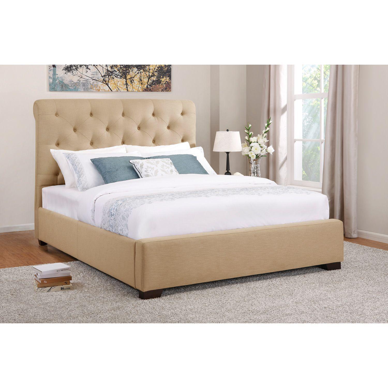 Kingston Queen Upholstered Bed Beige Sam S Club Upholstered