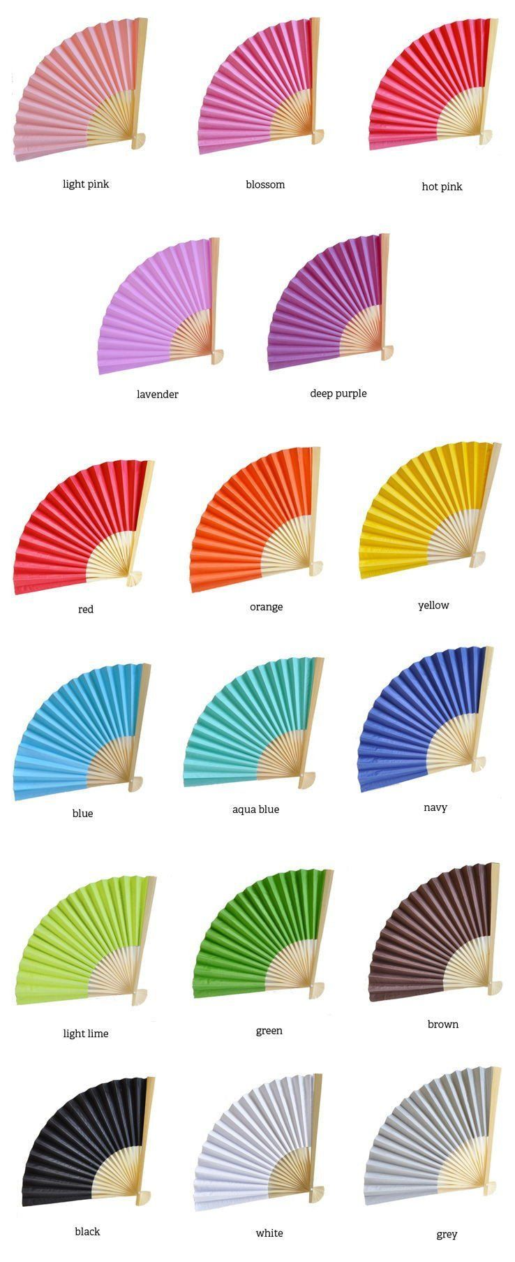 Colored Paper Fans | Colourful wedding favours, Colorful weddings ...