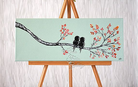 Original Canvas Painting Love Bird Painting von LindaFehlenGallery