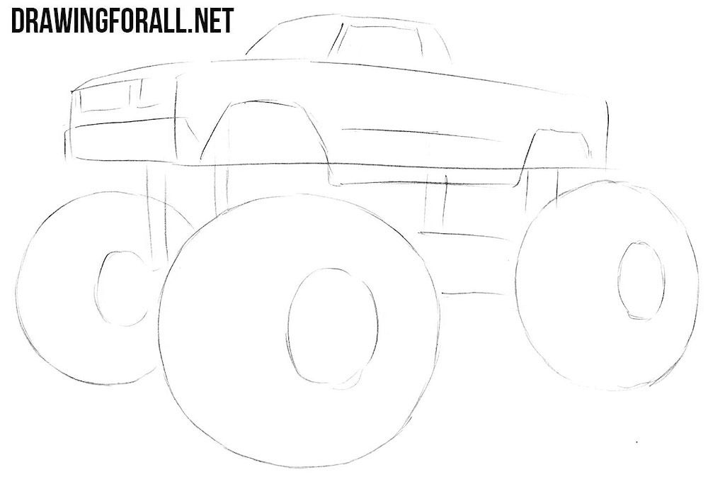 How To Draw A Monster Truck Drawing Ideas Drawings Monster