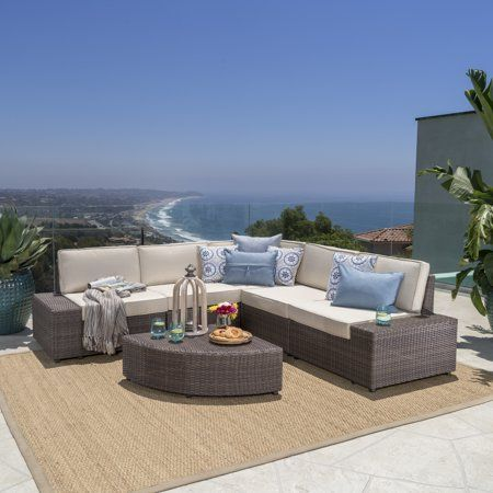 Noble House Keyston Outdoor 6 Piece Wicker Sectional Sofa Set With