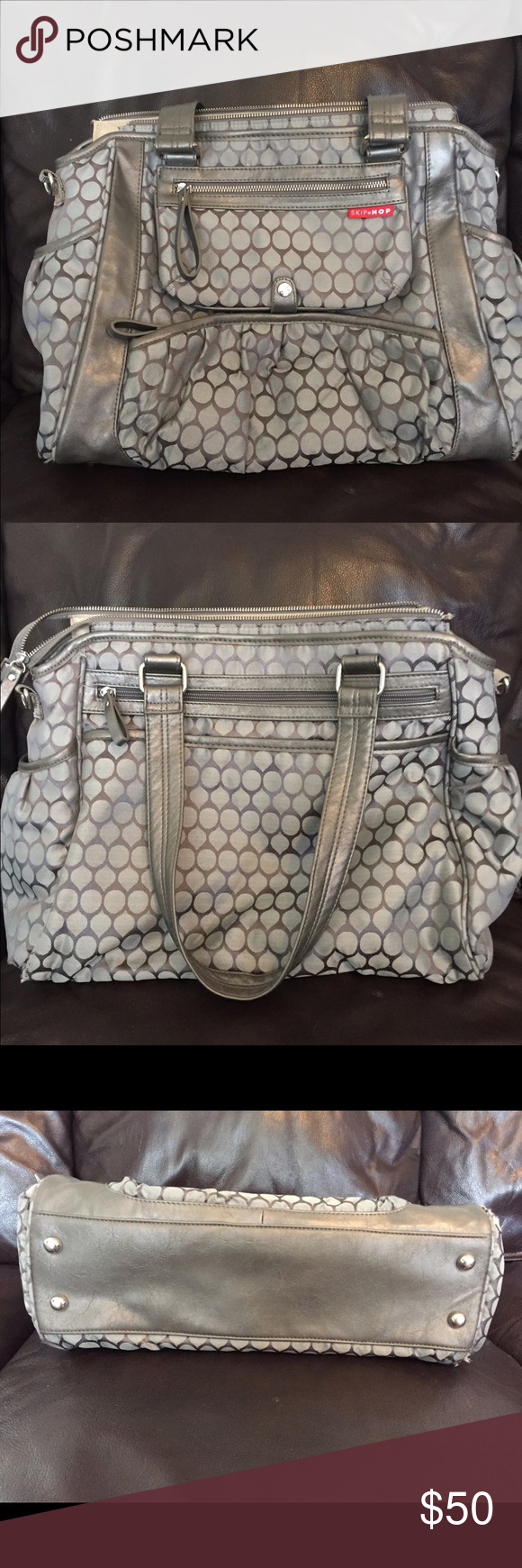 Skip Hop Diaper bag/tote Skip Hop diaper/tote bag in great condition. Interior has some minor staining, see pic. Bottom has some small pulls from normal wear. Bag is extremely functional and has many pockets. There is even an antimicrobial treated pocket. Super cute bag! Bags Baby Bags