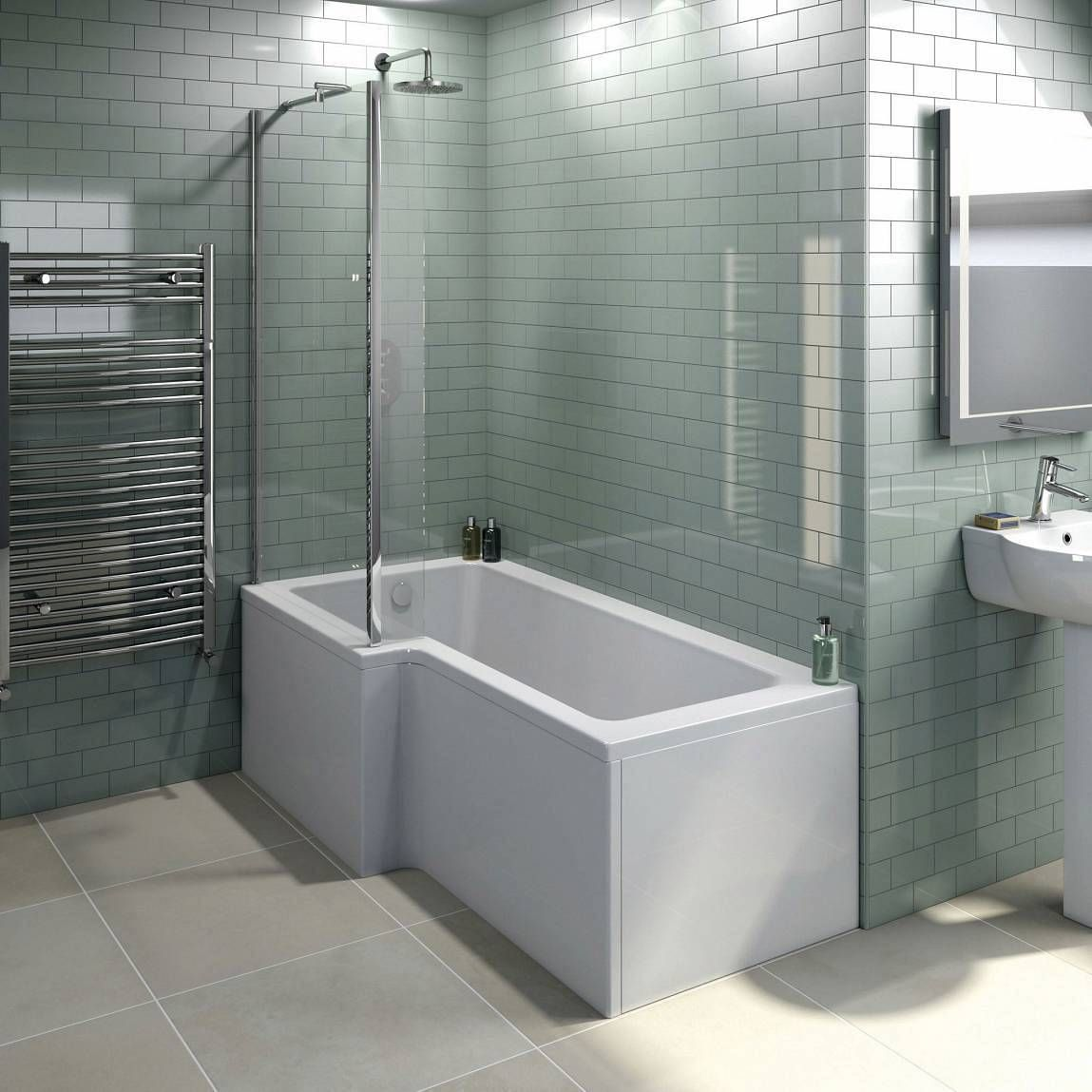 Boston Shower Bath 1500 X 850 Lh Inc Screen Now Only 169 00 From Victoria Plumb L Shaped Bath Shower Screen Bath Screens