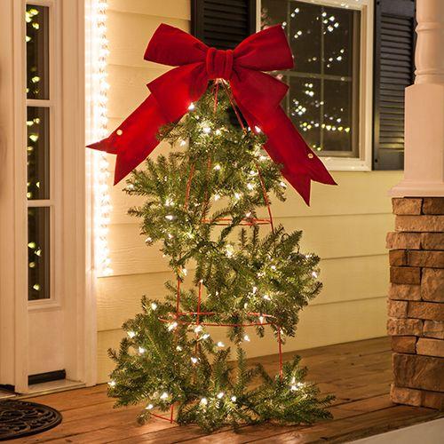 Diy Christmas Lights Make A Tomato Cage Christmas Tree Christmas Lights Etc Blog Tomato Cage Christmas Tree Diy Christmas Lights Diy Christmas Garland