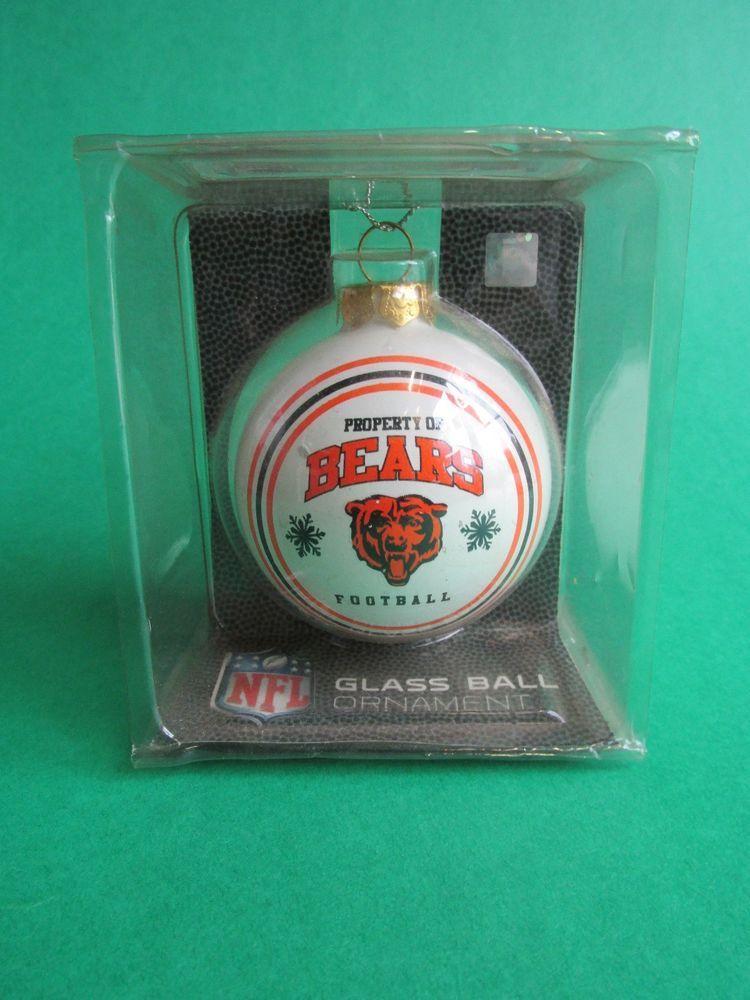 New NFL Chicago Bears Christmas Glass Ball Ornament Property of Bears Football