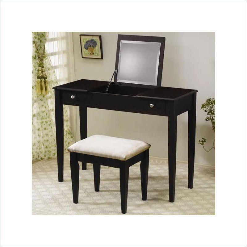 Wood Two Drawer Makeup Vanity Table Set With Mirror In Dark Brown