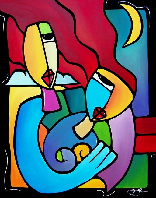 Sharing A Moment By Tom Fedro Abstract Art Painting Modern Art Abstract Art