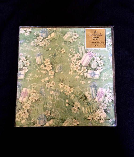 Bridal Shower Gift Wrap  Hallmark  Pale Green Background