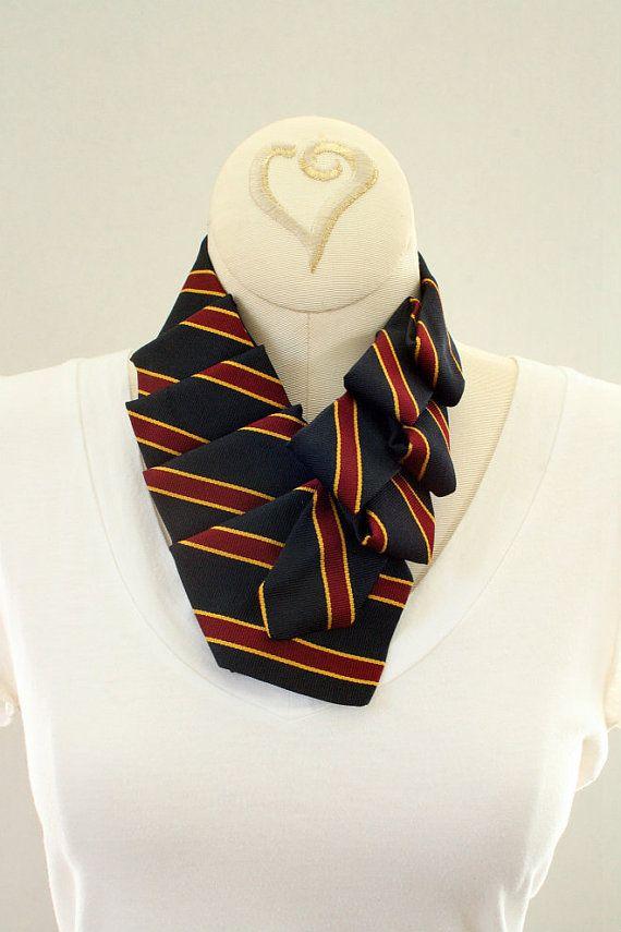 Womens Ascot Navy Blue Red Striped Collar. by OgsploshAccessories, $40.00