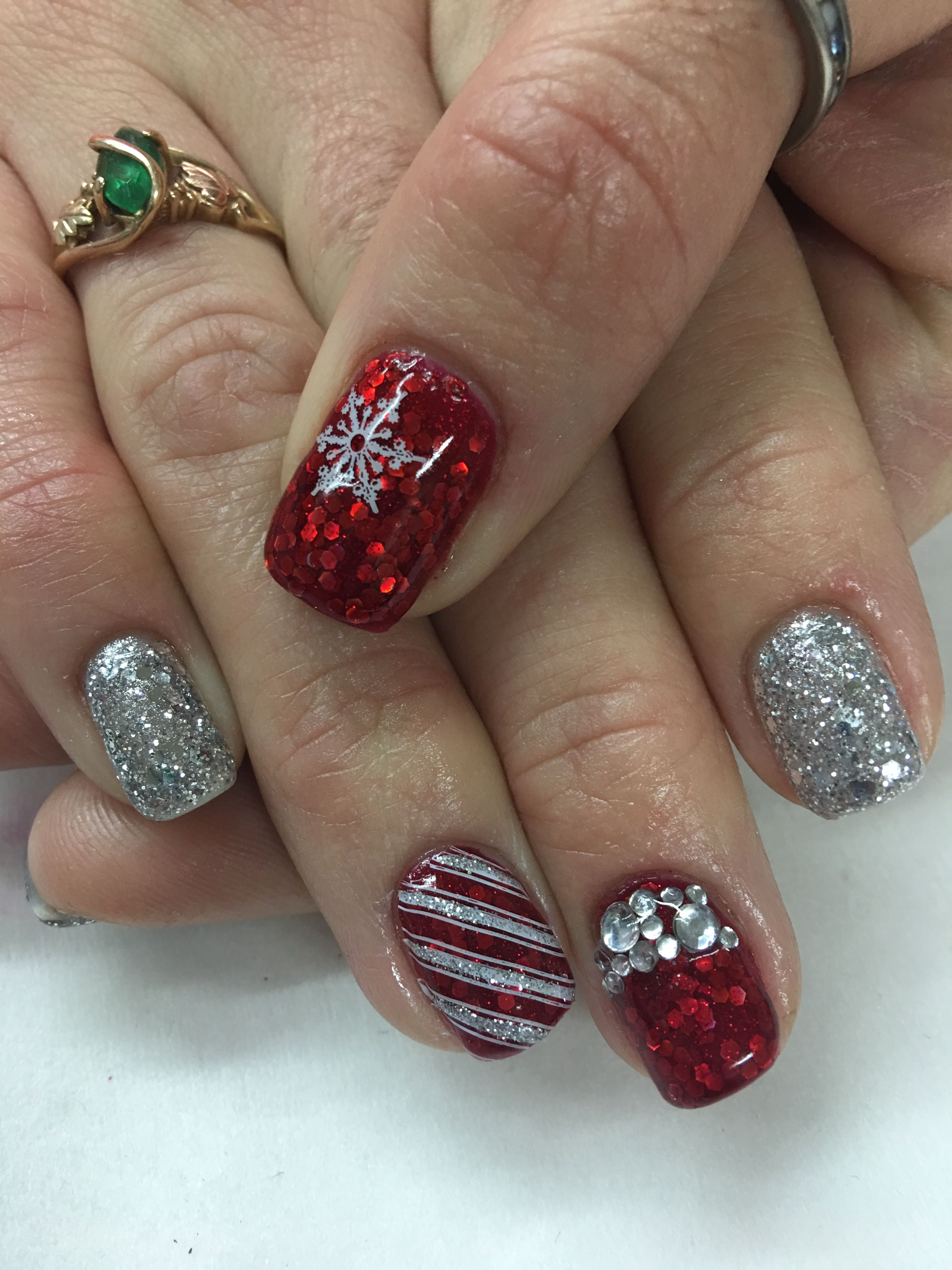 Red Silver Glitter Christmas Candy Cane Snowflake Gel Nails Candy Cane Nails Holiday Nails Winter Red And Silver Nails