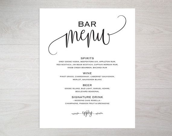 Bar Menu Template Bar Menu Bar Menu Printable Bar Menu wedding - bar menu template