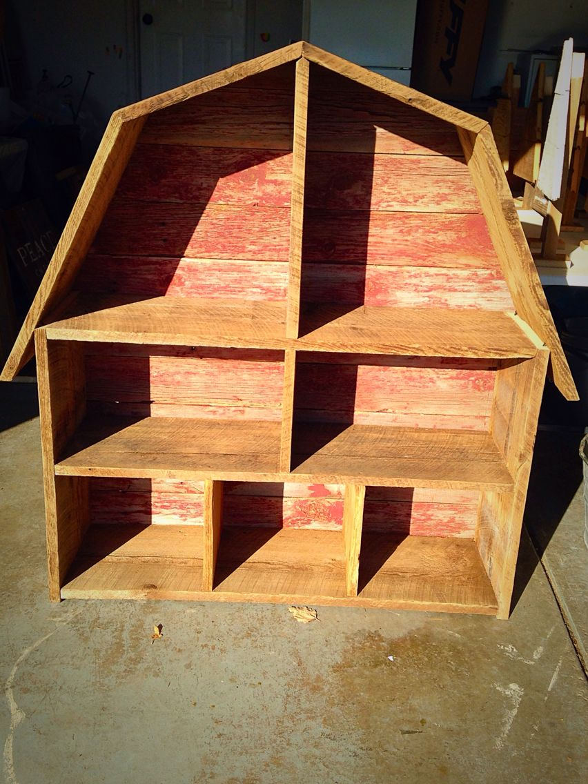 Barn Book And Toy Shelf Made Out Of Barn Wood