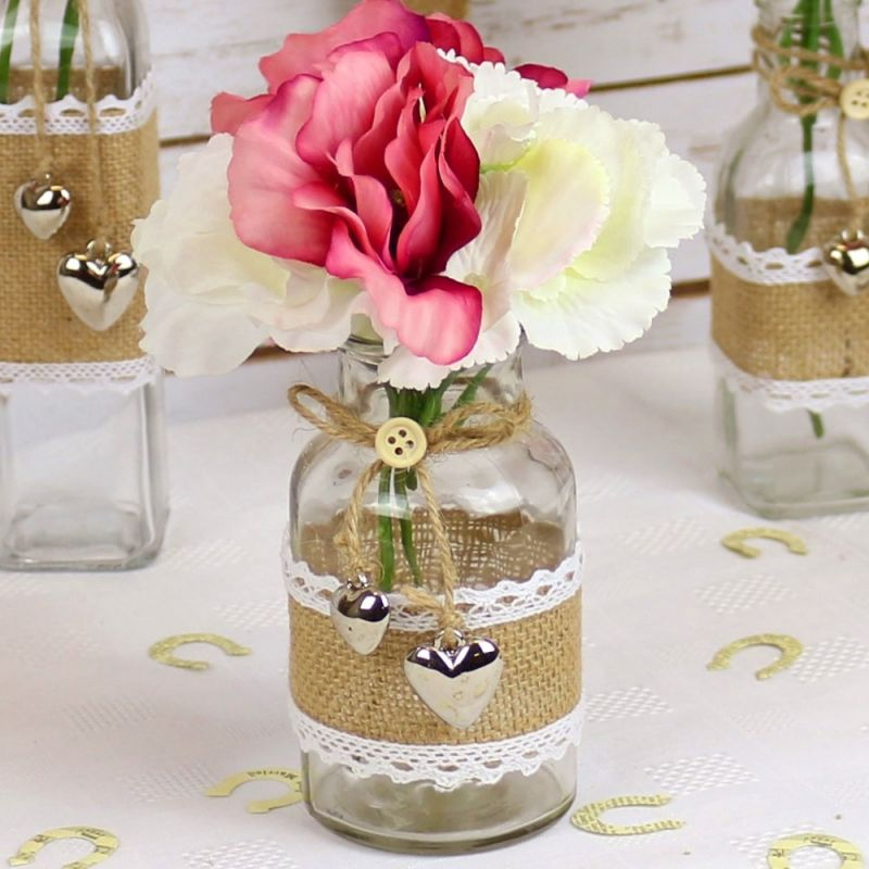 Glass Bottles For Wedding Decorations Glass Bottle With Hessian & Lace 125Cm  Wedding Mall  Wedding