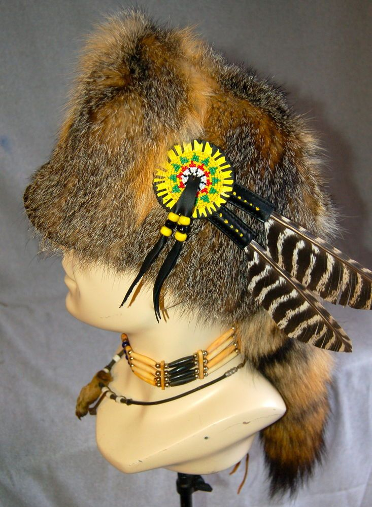 Mountain Man Prairie Fox fur Hat FCF Black Powder Rendezvous Buckskinner  Powwow 88aa7e090c63