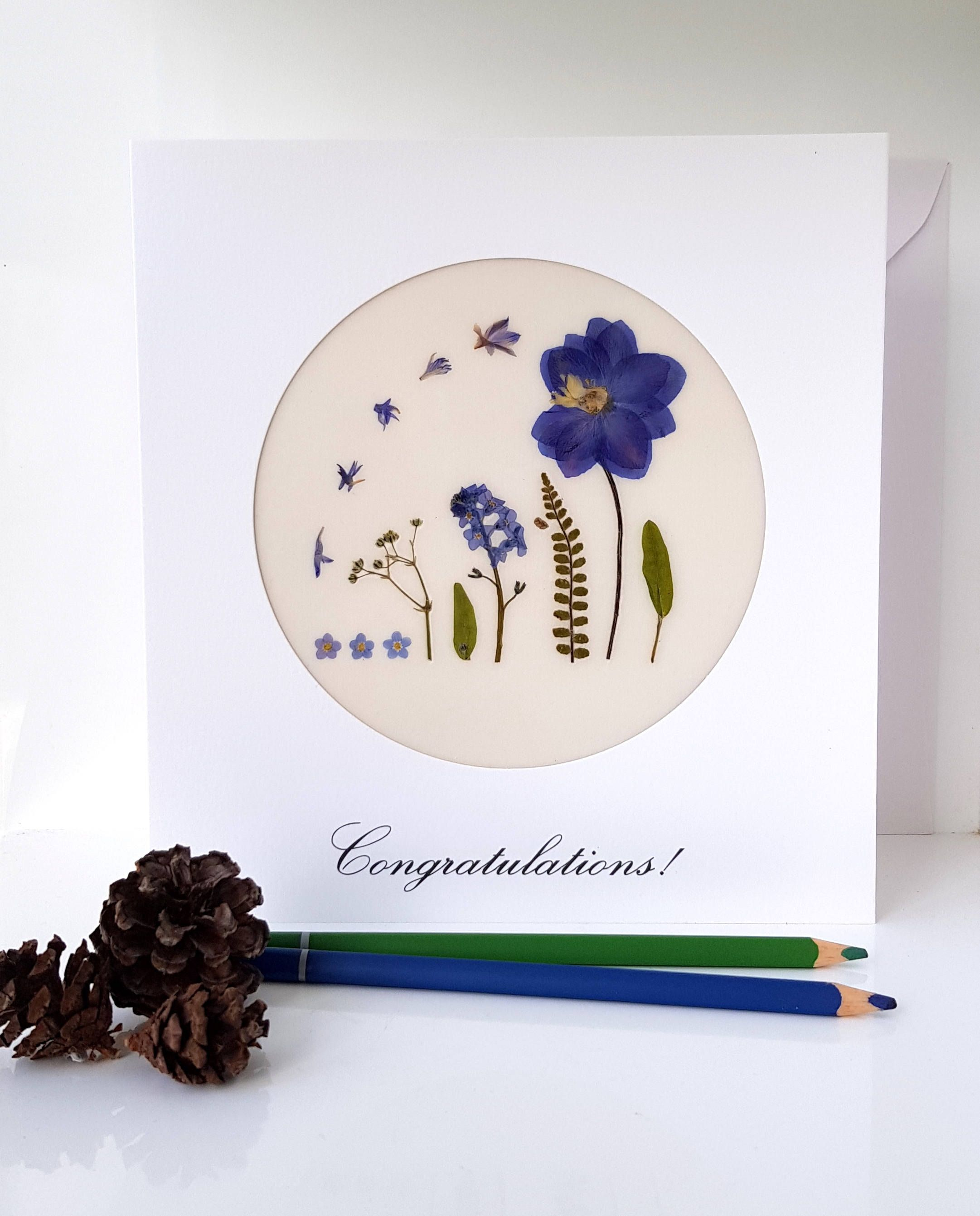 Congratulations wedding card handmade with pressed flowers wedding congratulations wedding card handmade with pressed flowers wedding gift just married newly wedded kristyandbryce Image collections