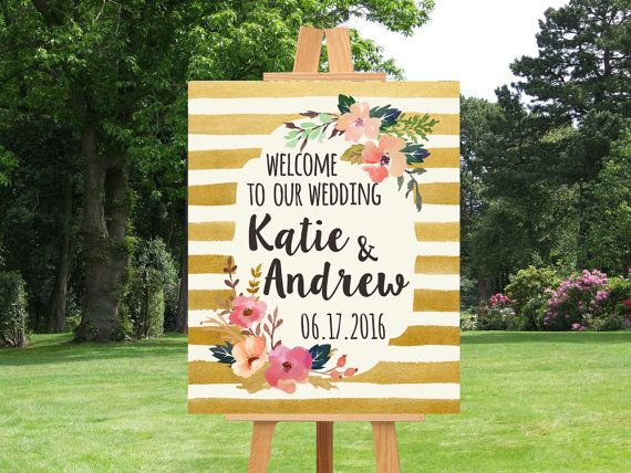 Printable Wedding Sign Welcome Wedding Sign by PinkTranquilitie