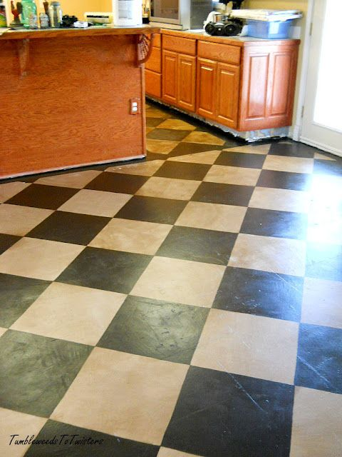 Tumbleweeds To Twisters Distressed And Checkered Painted Concrete Floors Painting Concrete Flooring