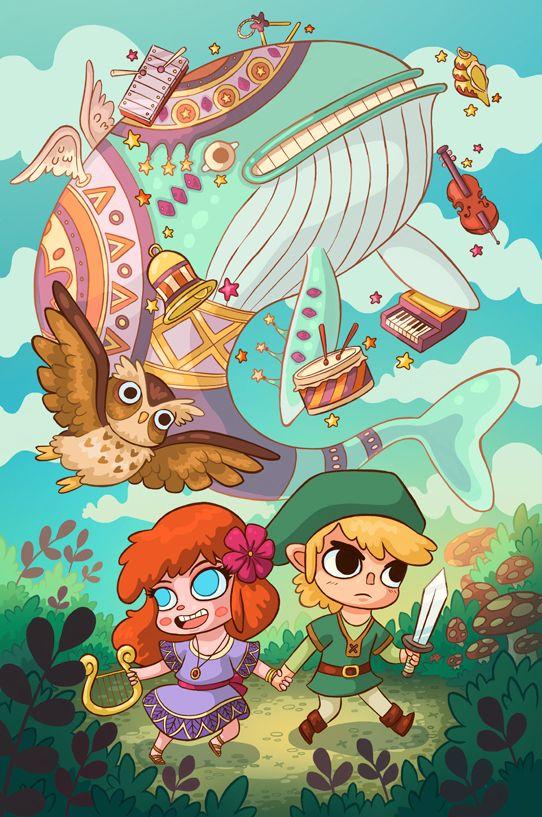 Link & Marin, The Legend of Zelda: Link's Awakening artwork by  Lindsey Lea.