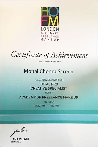 Specialized in photography makeup from Glauco Rossi School of Makeup London and Pro Creative Intensive Makeup from AOFM London, Monal Chopra Sareen is ...