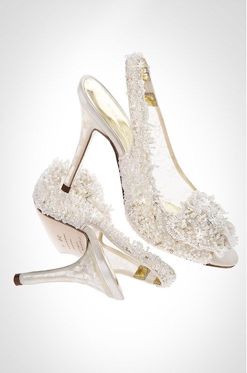 Freya Rose Showcases The Snowqueen Couture Wedding Shoe With Mother Of Pearl Heels And Hand